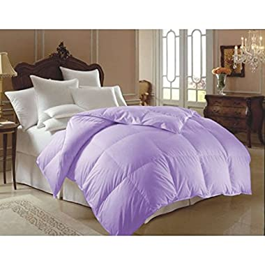 Single Piece King Lilac Down Alternative Comforter, Fancy High Class Bedding, Baffle-Box Design, Microfiber Material, Luxurious Hypoallergenic Features, All Season, Machine Washable, Light Purple