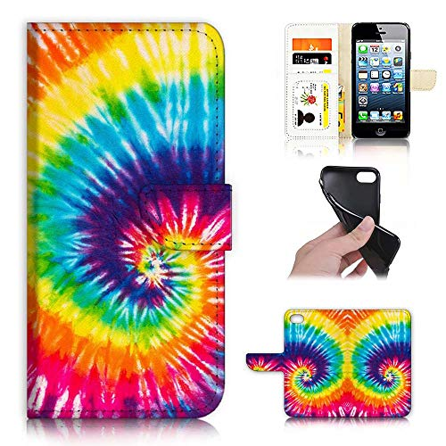for iPhone 5, iPhone 5S, iPhone SE, Designed Flip Wallet Phone Case Cover, A21803 Abstract Tie Dye 21803