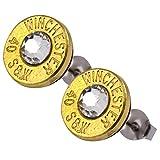 40 bullet earrings - Little Black Gun 40 S&W Bullet Shell Stud Earrings, Thin Brass in Clear Crystal