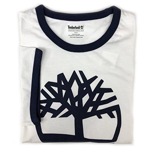 Short Sleeve Ringer T-shirt - Timberland Men's Short Sleeve Tree Logo Ringer T-Shirt (White, Large)
