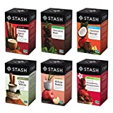 Stash Tea Exotic Tea Six Flavor Assortment, 18 Count Tea Bags in Foil (Pack of 6) Individual Black & Green Tea Bags for Use in Teapots Mugs or Cups, Brew Hot Tea or Iced Tea (Packaging May Vary)