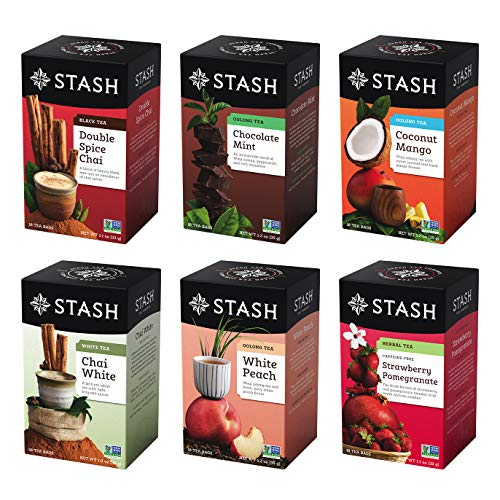 Stash Fusion - Stash Tea Exotic Tea Six Flavor Assortment, 18 Count Tea Bags in Foil (Pack of 6) Individual Black & Green Tea Bags for Use in Teapots Mugs or Cups, Brew Hot Tea or Iced Tea (Packaging May Vary)