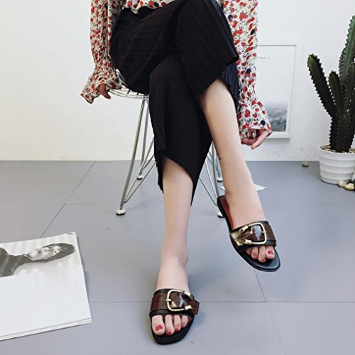 Mujer Tacón Zapatos Romanas Negro Verano Chancletas De Marrón Estilo Bajo Para Hunpta 36 Talla Sandalias q48U4fxX