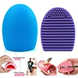 Imixshop Pack of 2 Cleaning Makeup Brush Silicone Glove Scrubber Board Cosmetic Clean Tools Brush Egg (Blue+Purple)