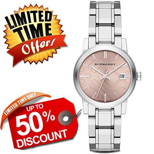 Burberry The City Precious DIAMONDS SWISS LUXURY Round Stainless Steel 34mm Pink Date Dial Women Watch BU9124