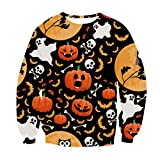 Sinzelimin Halloween Womens Clothes, 3D Printed Sweatshirts Novelty Graphic Jumper Cosplay Costume Black