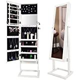 Bonnlo Jewelry Armoire Square Stand with 4 Adjustable Angle Tilting, Well Packed by styrofoam & Stiffer Covering, Lockable Heavy Duty Bedroom Make up Mirror Cabinet Organizer Closet