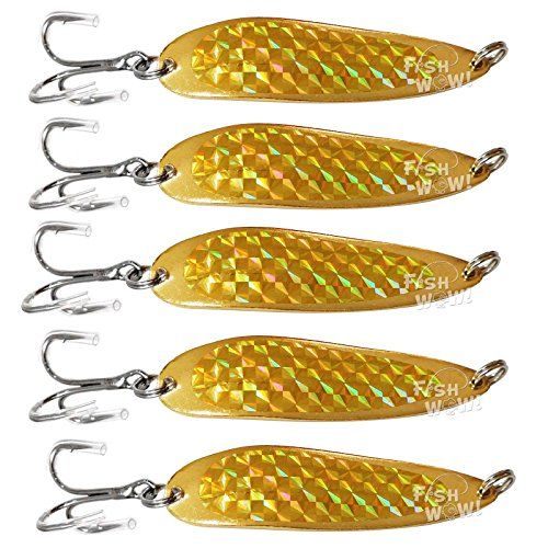 Fish WOW! 5pcs 1oz Fishing Spoon with a Treble Hook Fish Jigging Casting Lures - Gold Tape