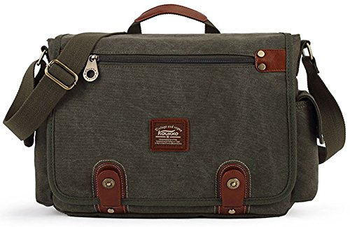 KAUKKO Lona bolso mensajero bolsa para hombre bolso de escuela �?(34*12*25cm, black) green
