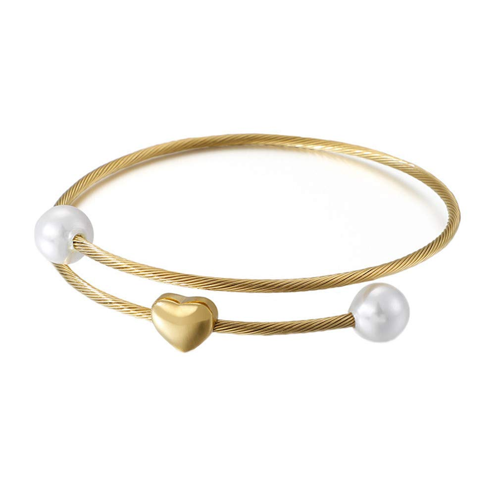 COENUGXKU Women Silver Rose Gold Stainless Steel Ball White Crystal Hearts Clasp Mesh Bracelets Bangle