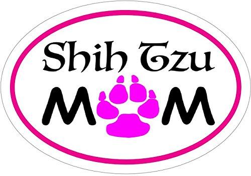 SHIH TZU Decal - Pink Oval Shih Tzu MOM Vinyl Sticker - Shih Tzu Bumper Sticker - Dog Mom Decal - Perfect SHIH TZU Dog Mother Gift - Made in the USA