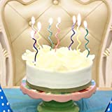 Spiral Birthday Candles Novel Candles Fun Primary Fashion Creative Colorful Coil Candle 4 Colors-pink blue yellow green, Pack of 16/set