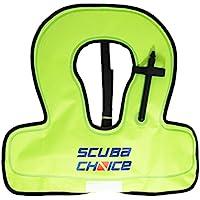 Scuba Choice Youth Kids Chaleco de snorkel, color amarillo neón/azul con nombre Caja
