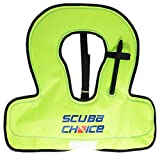 Scuba Choice Youth Kids Snorkel Vest Neon Yellow/Blue with Name Box