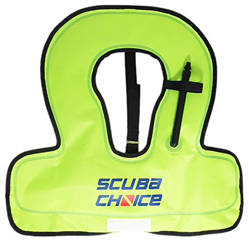Scuba Choice Youth Kids Snorkel Vest Neon Yellow/Blue with Name Box ()