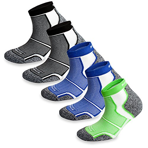 5 Pairs More Mile New York Cushioned Coolmax Sports Running Socks (8.5-10.5...