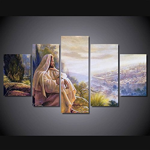 Print 5 pcs canvas wall art print Jesus default painting wall art picture home Decor Canvas Art Print Painting on canvas PT0761,medium,framed