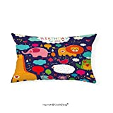 VROSELV Custom pillowcasesBirthday Decorations for Kids Cartoon Safari Animals with Hearts Flowers and Clouds Image for Bedroom Living Room Dorm Multicolor(16''x20'')