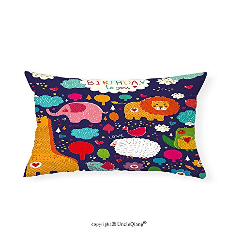 VROSELV Custom pillowcasesBirthday Decorations for Kids Cartoon Safari Animals with Hearts Flowers and Clouds Image for Bedroom Living Room Dorm Multicolor(16''x20'') by VROSELV