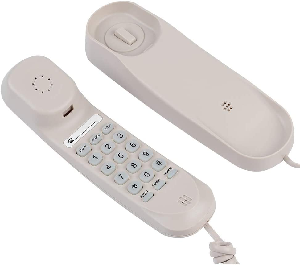Exquisite and Compact No Caller ID Display Hotel Landline Telephones Waterproof Business Telephone Desktop Telephone Extension with Four Non-Slip Mats for Hotel Family Bathroom