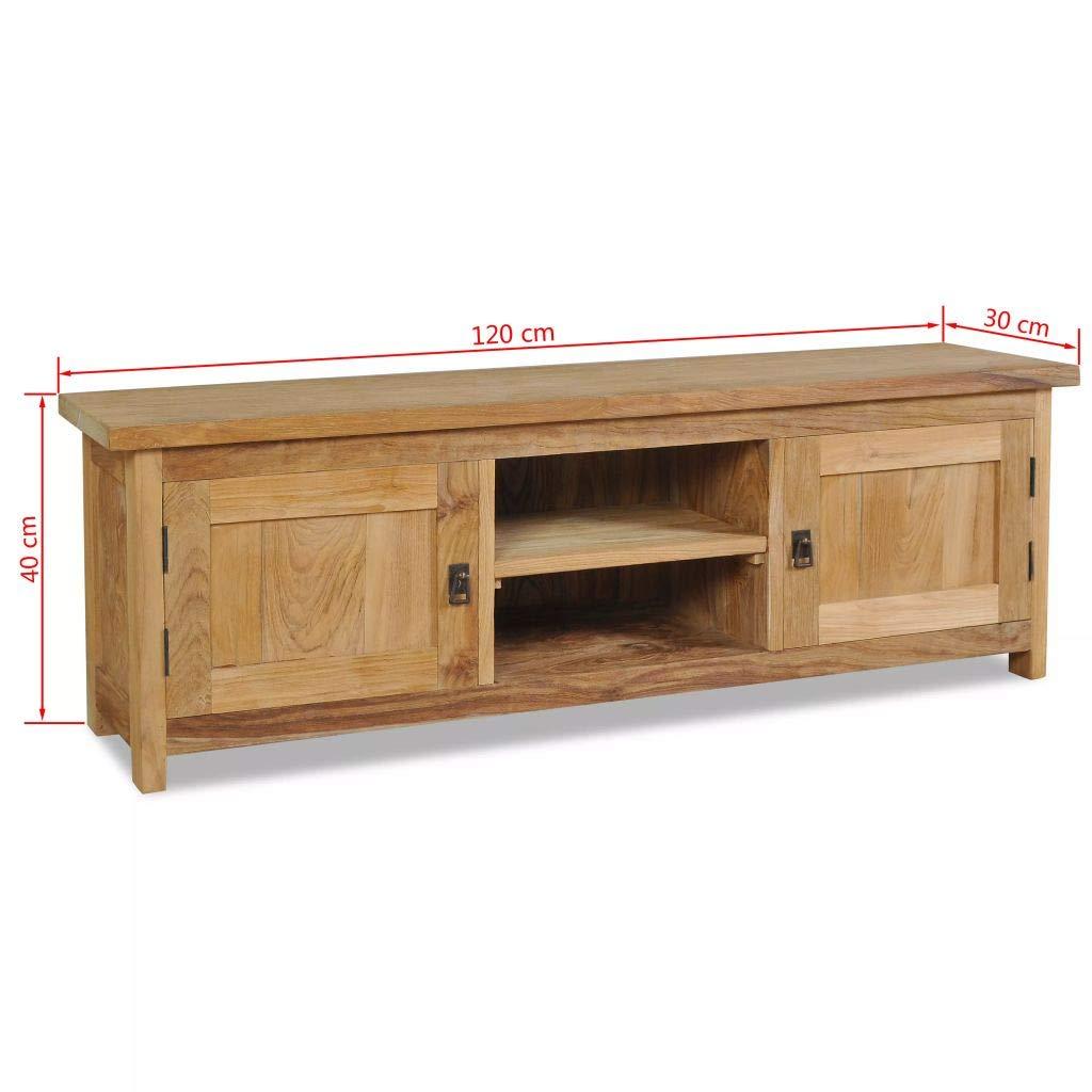 Festnight Vintage Wood Tv Cabinet Tv Stand Storage Cabinet Solid Teak 47 2 X 11 8 X 15 7
