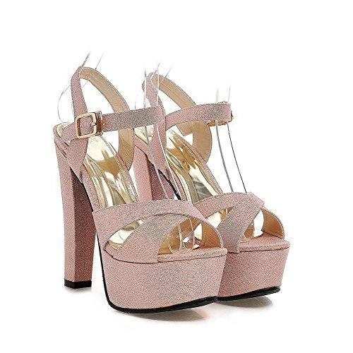 Amoonyfashion Kvinna Höga Klackar Mjuka Material Fast Spänne Öppen Sandaletter Rosa
