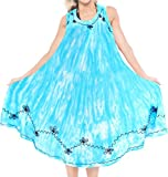 LA LEELA Rayon Tie Dye Wedding Tunic Long Women Dress  Blue 2148 Plus Size
