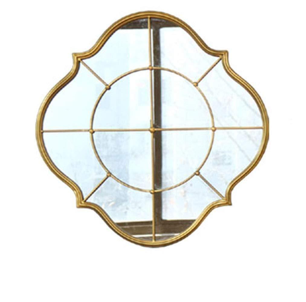 Bathroom Mirror,Plum Mirror Gold Wrought Iron Decorative Mirror Diamond Mirror Shaped Mirror (Color : Gold)