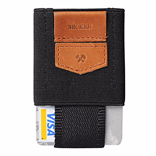 - Becken Slim Leather and Elastic Minimalist Wallet ID and Credit Card Holder - Holds up to 10 Cards (Saddle Tan)