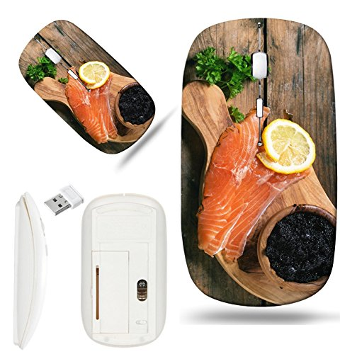 (Luxlady Wireless Mouse White Base Travel 2.4G Wireless Mice with USB Receiver, 1000 DPI for notebook, pc, laptop,mac design IMAGE ID: 34063724 Bowl of black caviar and pieces of salted salmon on olive)