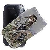William Adolphe Bouguereau - Before The Bath, Ölgemälde Ultra Slim Schwarz PU Leder Sleeve Etui Handy Case Cover Hülle Tasche mit Pull Tab und Strukturierte Design für BlackBerry Z3.