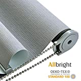 ALLBRIGHT Thermal Insulated 100% Blackout Waterproof Window Roller Shades Blinds with Striped Jacquard (35 x 83 inches, Pebble Grey)