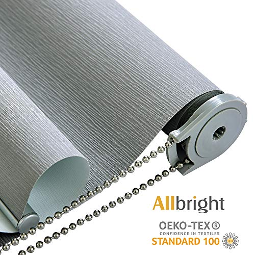Allbright 100% Blackout Roller Blind and Shades with Striped Jacquard (23 x 83 inches, Pebble Grey)