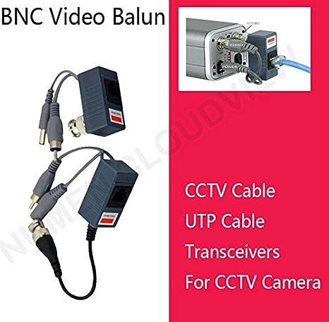 BW PAIR CCTV C/ámara BNC CAT5 Video Balun Transceptor Cable