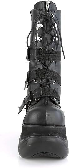 Demonia BOXER-230 Men/'s Black Vegan Leather Platform Lace-Up Zip Mid Calf Boots
