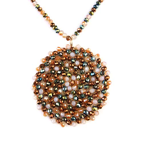 - RIAH FASHION Bohemian Beaded Long Statement Necklace - Sparkly Crystal Bead Boho Braided Disc Wired Round Circle, Teardrop, Natural Stone Tassel Pendant (Round - Multi)
