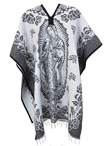 Ethnic Identity Authentic Mexican Poncho Virgen de Guadalupe Reversible Cobija Blanket (Grey) Authentic Wool