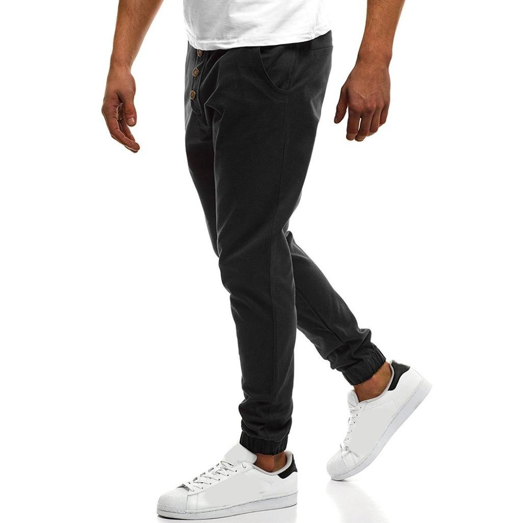 PASATO Fashion Mens Sport Pure Color Button Casual Loose Sweatpants Drawstring Pant