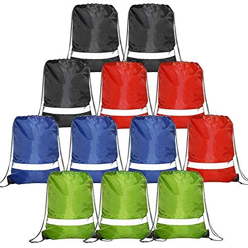 20 Pieces Grey-Drawstring-Backpacks-Bag Reflective Sports Gym Sack Pack String Bags