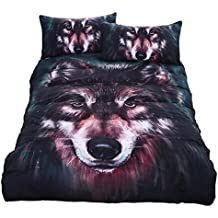 KTLRR Wolf Painting Bedding Set,3D Duvet Cover Set with Pillowshams-No Comforter, Soft Quilt Cover 3Pcs AU US Double Queen King Size Kids Home Textiles (Twin, wolf)