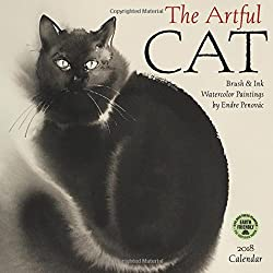 The Artful Cat 2018 Wall Calendar: Brush & Ink Watercolor Paintings by Endre Penovac