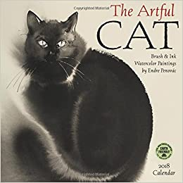 the artful cat 2018 wall calendar brush ink watercolor paintings by endre penovac