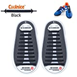 Coolnice® No Tie Shoelaces for Adults and Kids DIY 20pcs - Environmentally safe silicone - Lazy Shoestrings - Color of Black