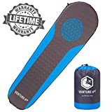 VENTURE 4TH Self Inflating Sleeping Pad - No Pump or Lung Power Required - Warm, Quiet and Supportive Mattress for a Comfortable Night's Sleep - Compact and Ultra Light Mat (Blue/Gray)