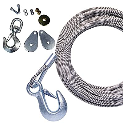 Powerwinch Stainless Steel Universal Premium Replacement Cable with Galvanized Hook and Swivel Pulley Block