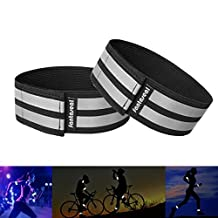 Fantaseal® High Reflective Safety Belt High Visibility Elastic Sports Wearable Bands Ankle Bands Armbands Wristband Sweatband Wrist Wrap Leg Strap Belt Reflective Fabric Tape Safety Sports Brace for Walking Jogging Running Cycling Sports & Outdoor Activity Gear- 2 pack ( 31cm / 12 inch, Black )