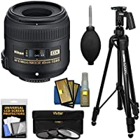Nikon 40mm f/2.8 G DX AF-S Micro-Nikkor Lens with 3 UV/CPL/ND8 Filters + Pistol Grip Tripod + Kit for D3200, D3300, D5300, D5500, D7100, D7200 Cameras