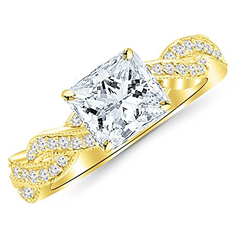 1 Cttw 14K Yellow Gold Princess Cut Vintage Eternity Love Twisting Split Shank Diamond Engagement Ring With Milgrain with a 0.72 Carat F-G Color SI2-I1 Clarity Center by Chandni Jewels (Image #1)