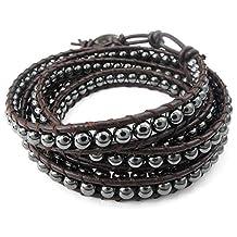 Konov Jewelry Leather Mens Womens Bracelet, Hematite Stone Beads Adjustable Wrap Bangle, Brown Black, with Gift Bag, C24244