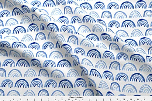 Jersey Blueprint - Spoonflower Arch Fabric - Abstract Geometrical Watercolor Blueprint Elements Kids - by Katerinaizotova Printed on Cotton Spandex Jersey Fabric by The Yard